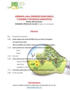 JORNADA sobre ENERGÍAS RENOVABLES. Programa